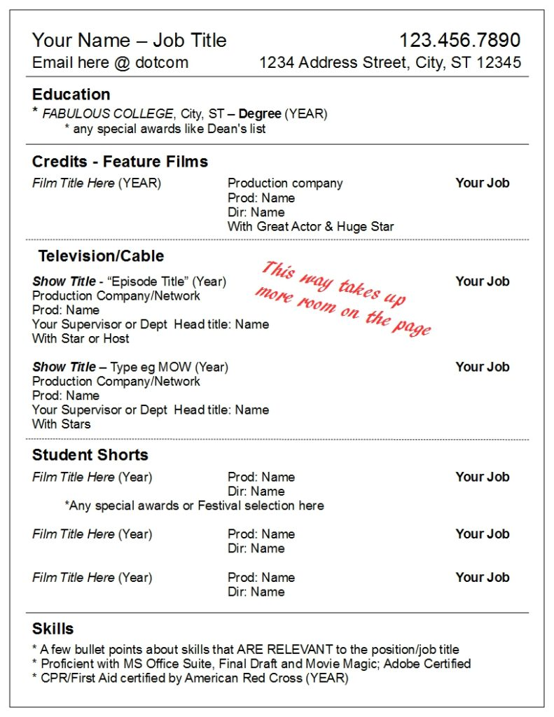 Alternate TV Credits Format And Skills  Name Your Resume
