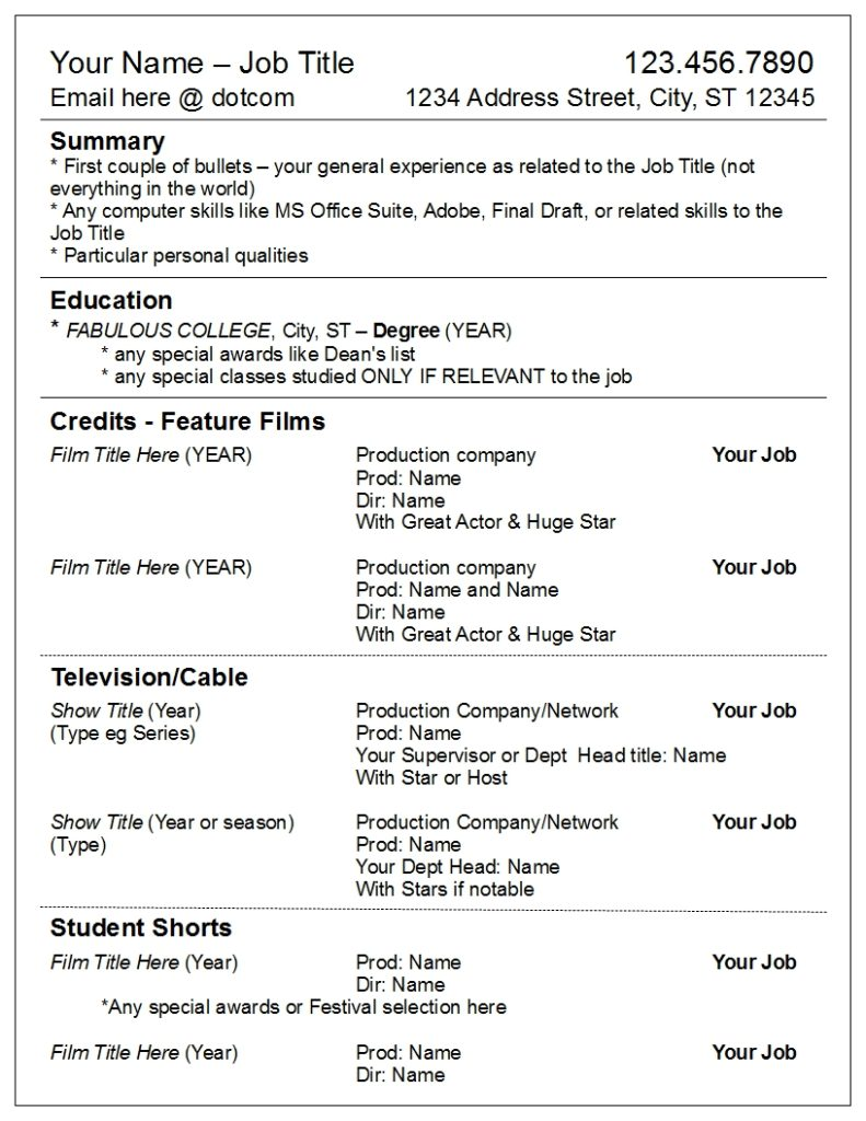 Divide your credits by media, not department – Robyn Coburn Résumé ...