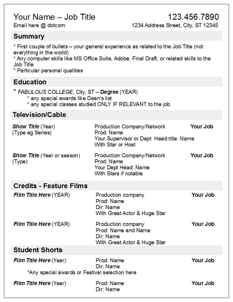 TV focused resume