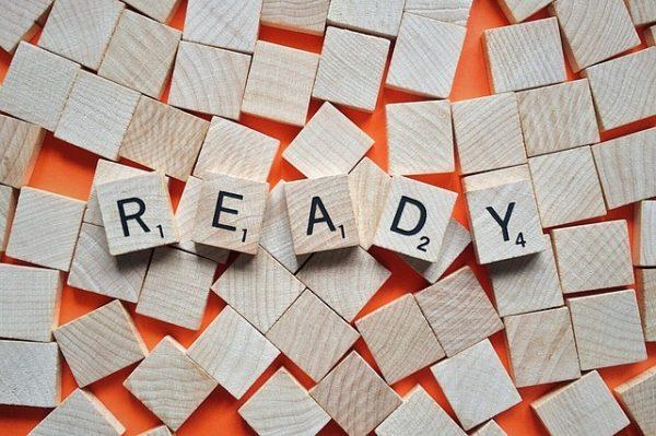 READY in Scrabble tiles.