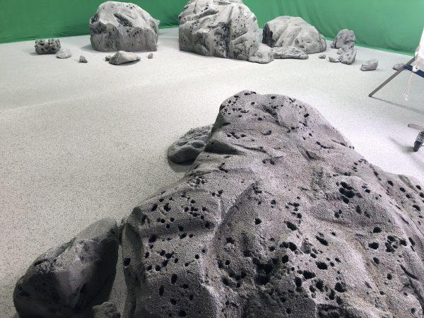 Moon rocks on the green screen set